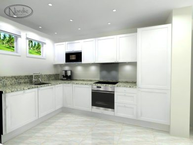 Worklog: Small L shaped White Kitchen with Granite