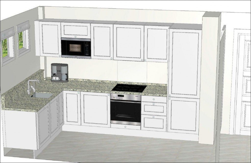 Nordic Muebles Small L shaped White Kitchen with Granite - Stage 2-4