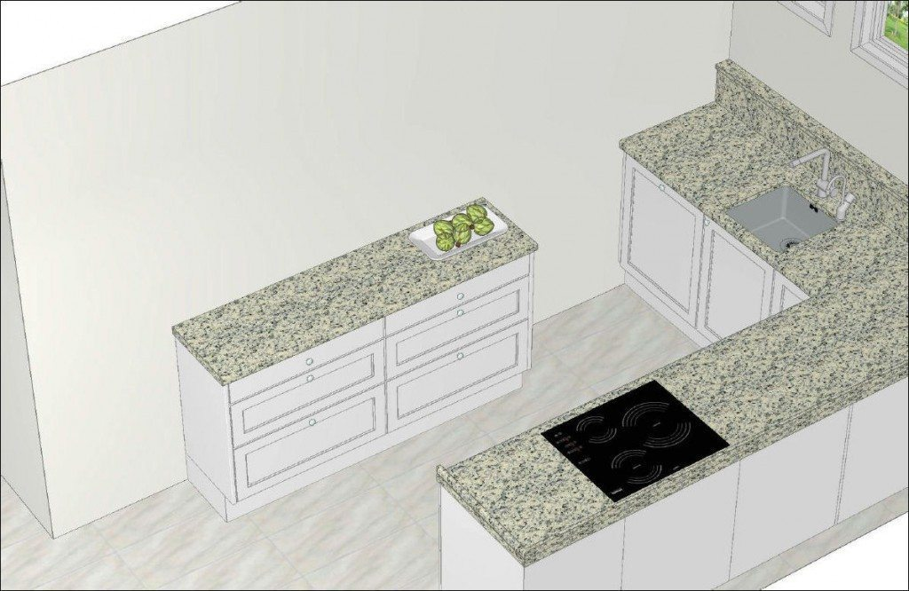 Nordic Muebles Small L shaped White Kitchen with Granite - Stage 2-5